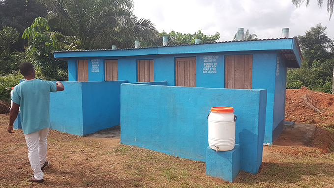 A newly constructed Latrine for patients and clinic staff at the Seaton Juaryen Clinic- Sinoe County. Photo Credit: Tearfund/Teta Lincoln