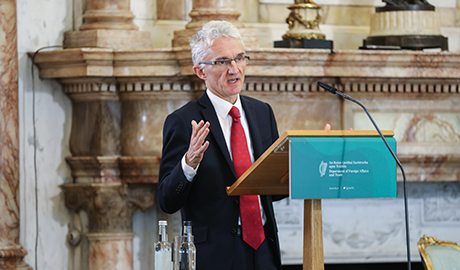 Sir Mark Lowcock speaking at the event ''A Collective Call towards Innovation in Humanitarian Financing'' in Iveagh House. March 2018. © Phil Behan