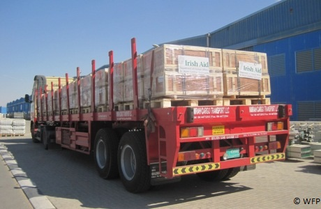 Irish Aid emergency supplies being dispatched from emergency stock in Dubai. Photo: WFP