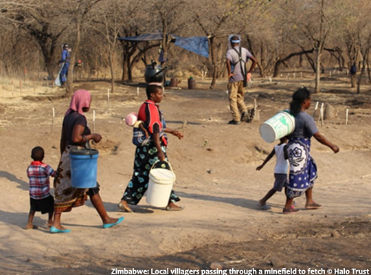 Zimbabwe: Local villagers passing through a minefield to fetch water Photo: Halo Trust