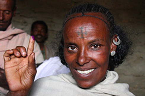 An Ethiopian woman at a religious ceremony