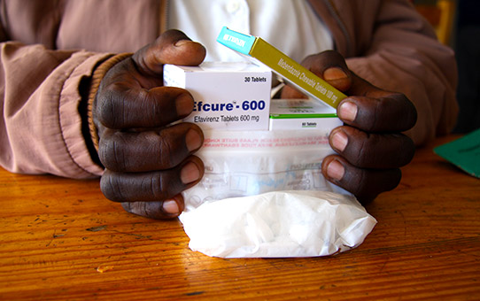 AIDS/HIV patient receives their anti-retroviral medications