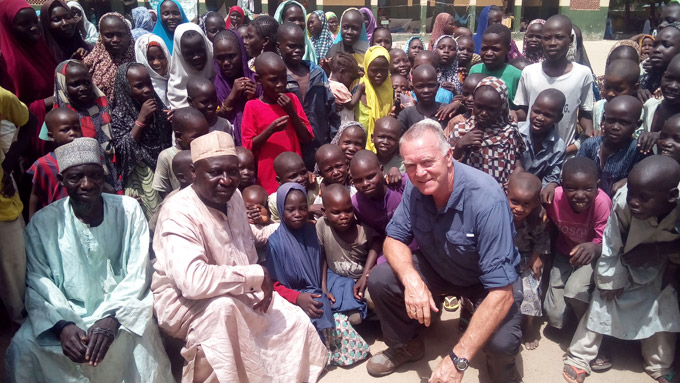 Rapid Response Corps member, Peter Cooney visiting a camp for internally displaced persons in Maiduguri, Nigeria