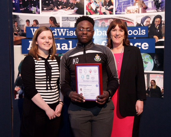 Rachel McEntee and Israel Olajide from St Olivers, Drogheda with Anne Payne, Irish Aid